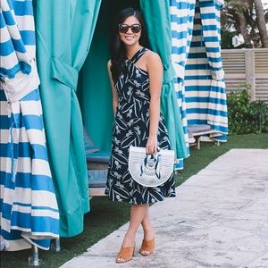 Navy and white pineapple dress